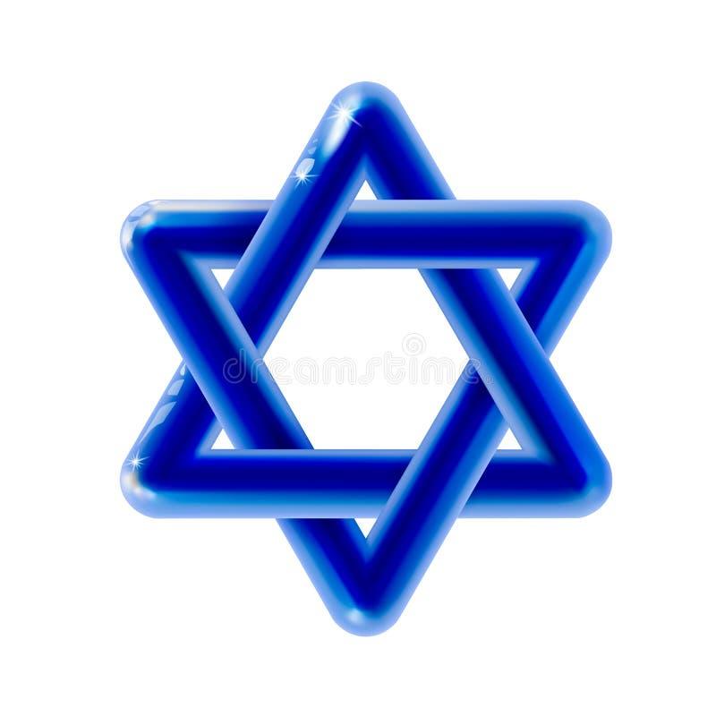 Heilige symboolster van David, pictogram 3d blauwe rond gemaakte plastic glanzende realistisch Ontwerpschild van David Glanzende  vector illustratie