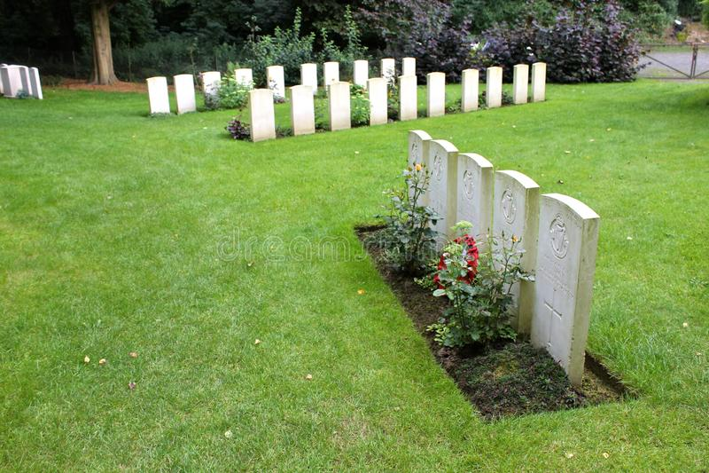 Heilige-Symphorien Begraafplaats, België stock afbeelding