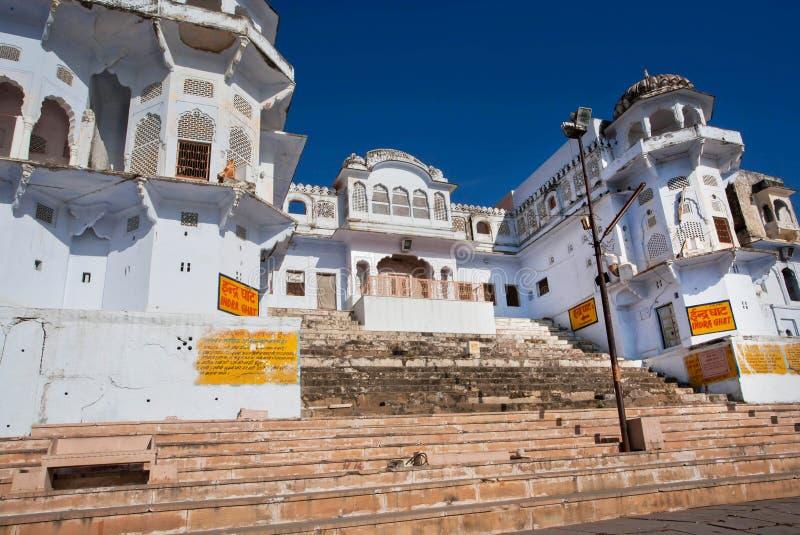 Heilige tempels in ghats in India royalty-vrije stock afbeelding