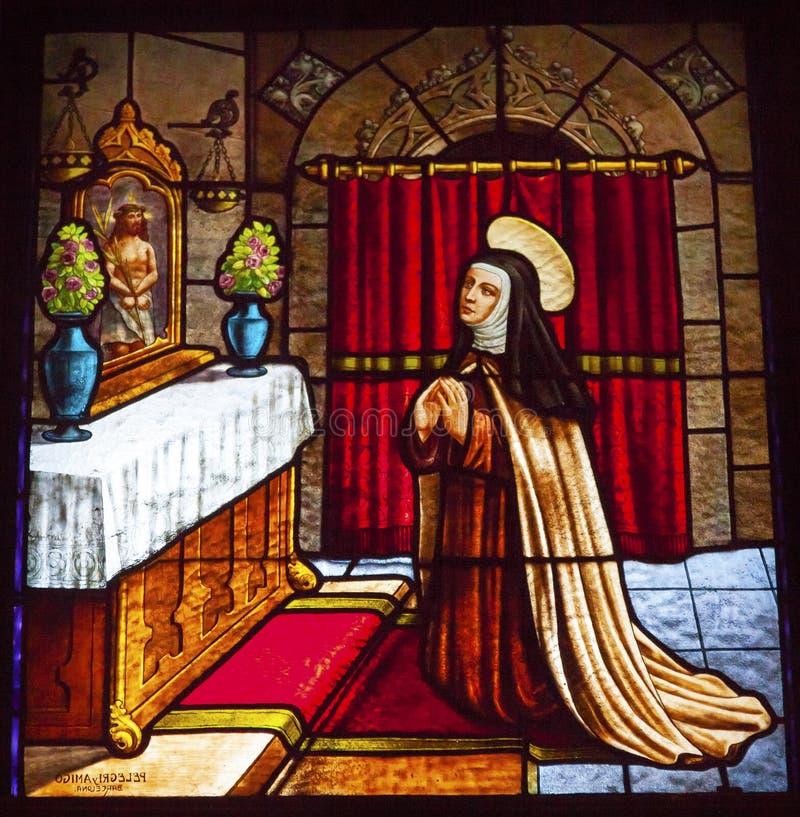 Heilige Teresa Stained Glass Convento de Santa Teresa Avila Spain stock foto's