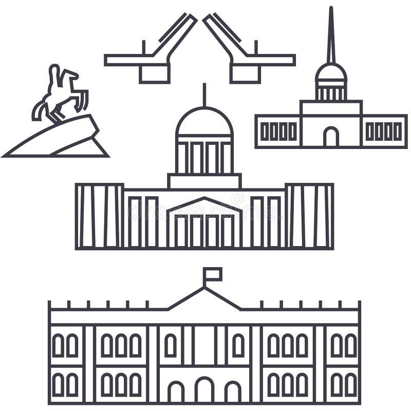 Heilige vector de lijnpictogram van Petersburg, Rusland, teken, illustratie op achtergrond, editable slagen vector illustratie
