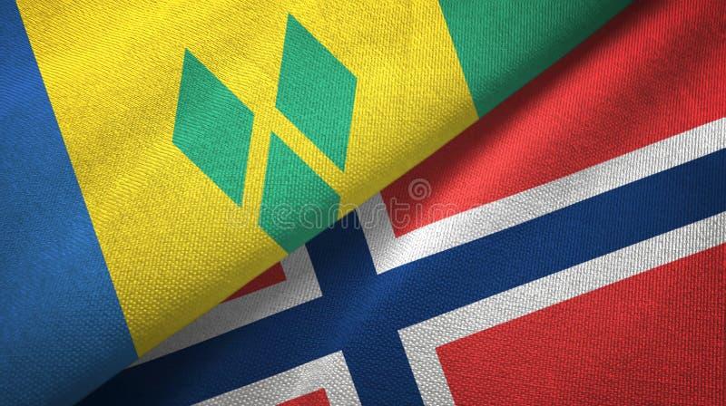Heilige Vincent en de Grenadines en Noorwegen twee vlaggen vector illustratie