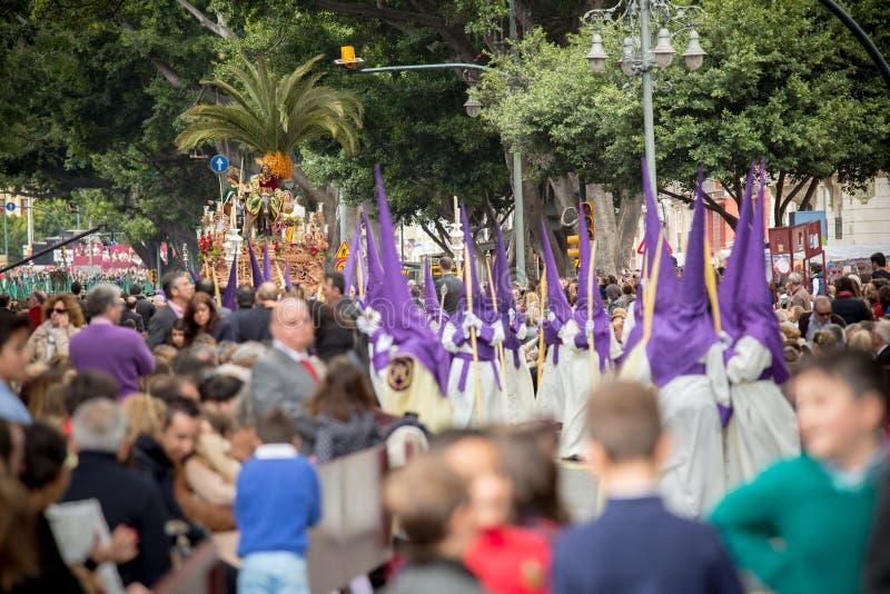 Heilige week in Malaga, Spanje De optocht van de palmzondag royalty-vrije stock afbeeldingen