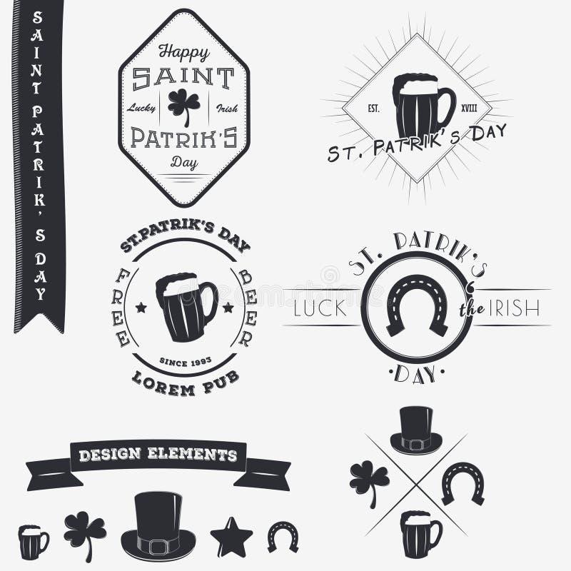 Heiligen Patricks Tag Satz typografische Ausweis-Gestaltungselemente, Designer Toolkit vektor abbildung