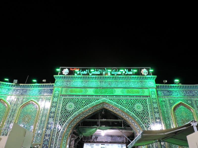 Am heiligen Schrein von Abbas Ibn Ali beleuchten, Kerbela, der Irak nachts stockbilder