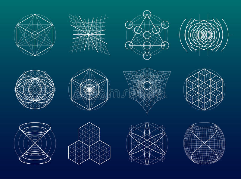 Heiliger Geometriesymbol- und -elementsatz stock abbildung