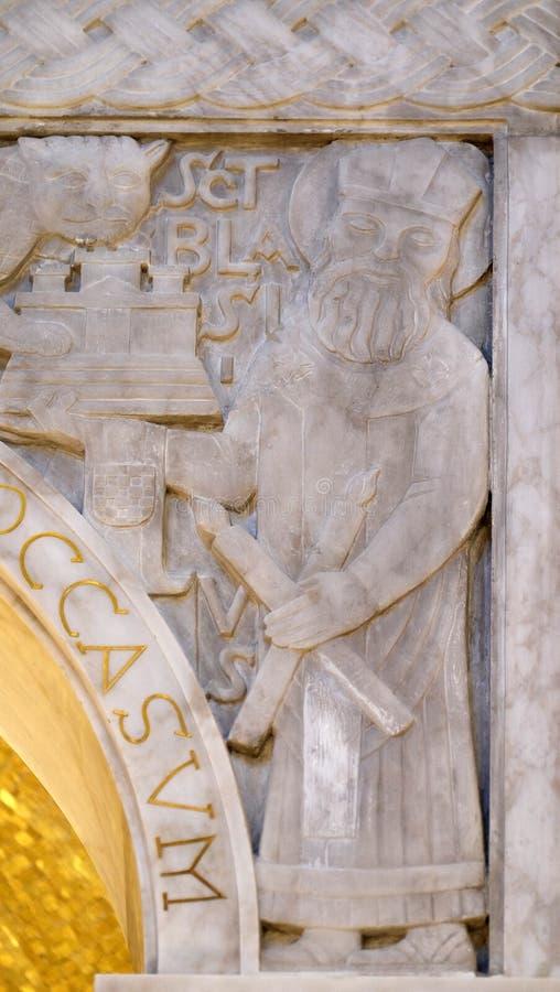 Heiliges Blaise, Detail von Ciborium in der Kirche des Heiligen Blaise in Zagreb stockfoto