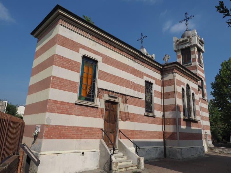 Heiliges Elizabeth-Kirche an Leumann-Dorf in Collegno lizenzfreie stockfotografie