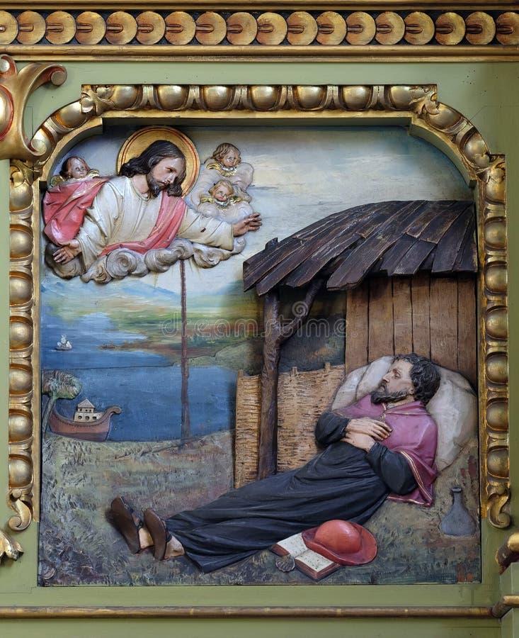 Heiliges Francis Xavier, Altarbild in der Basilika des heiligen Herzens von Jesus in Zagreb stockfotografie