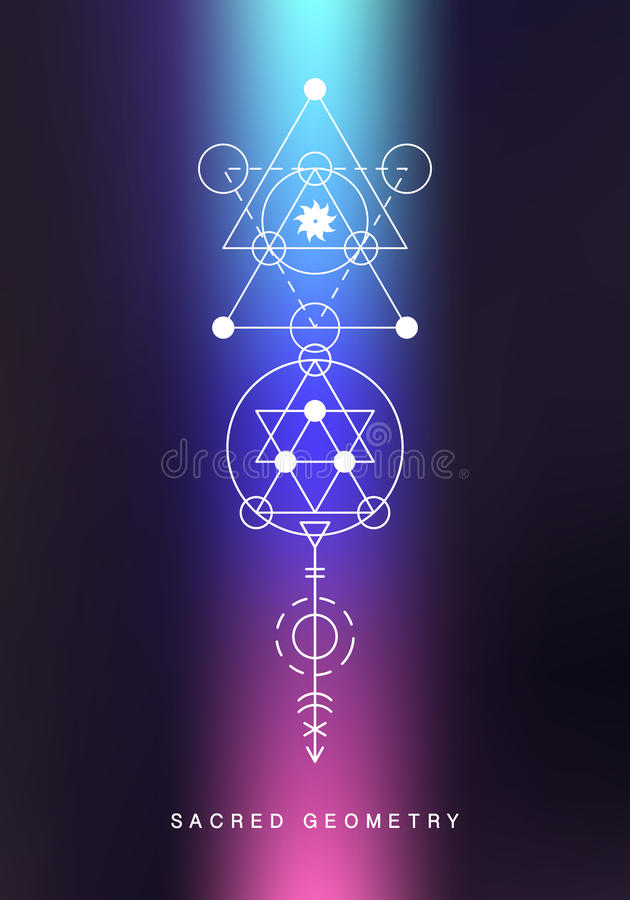 Heiliges Geometriezeichen Lineare Kunst der Alchimie stock abbildung