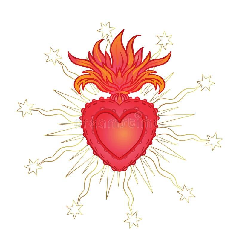 Heiliges Herz von Jesus mit Strahlen Vektorillustration im Rot und vektor abbildung