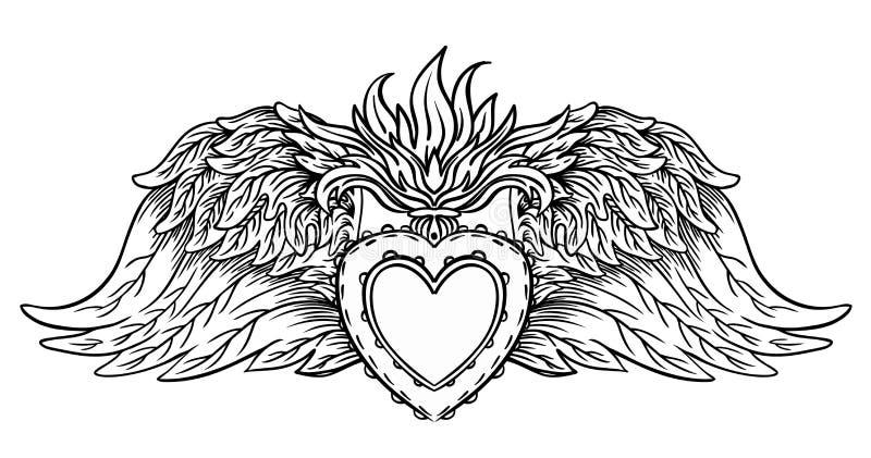 Heiliges Herz von Jesus mit Strahlen Vektorillustrationsschwarzes isola vektor abbildung