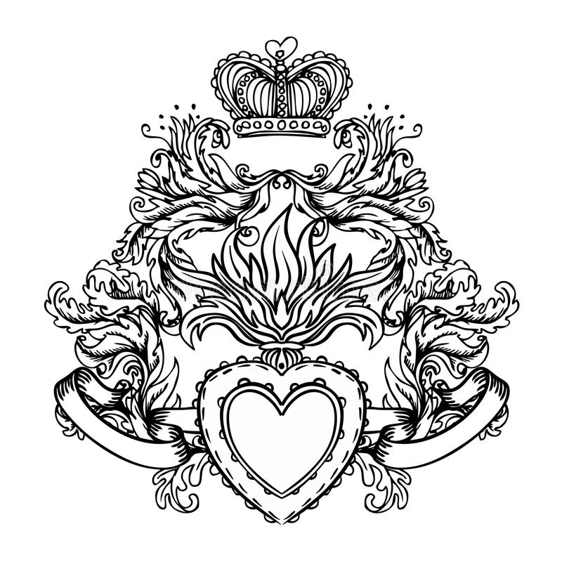 Heiliges Herz von Jesus mit Strahlen Vektorillustrationsschwarzes isola stock abbildung