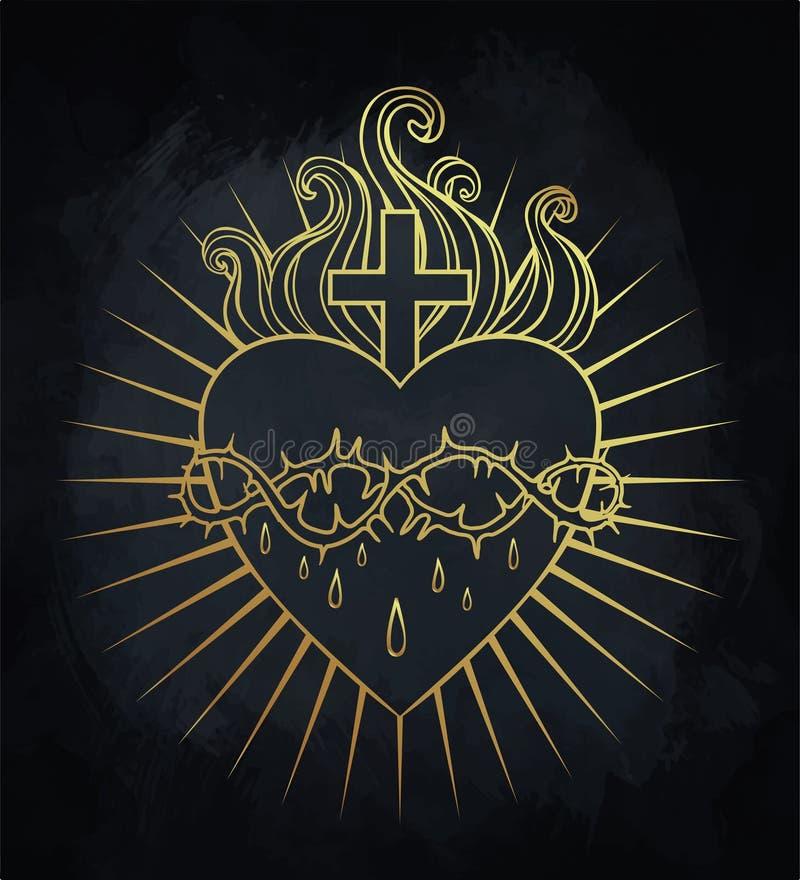 Heiliges Inneres von Jesus Vektorillustration im Gold färbt isolat lizenzfreie abbildung