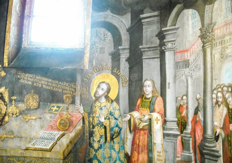 Heiliges John Chrysostom dient die göttliche Liturgie Anstrich stockbild