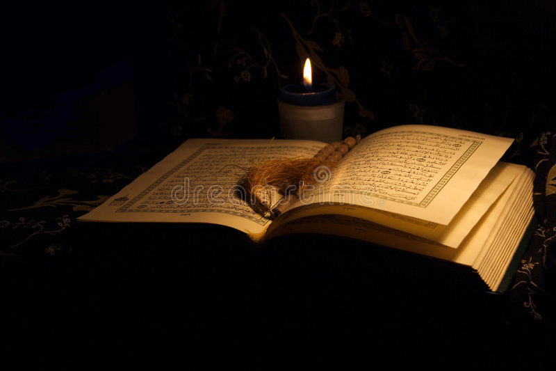 Heiliges Koran Buch u. Rosenbeet stockfotografie