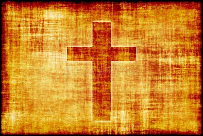 Heiliges Kreuz auf Pergament-Rolle-Papier vektor abbildung