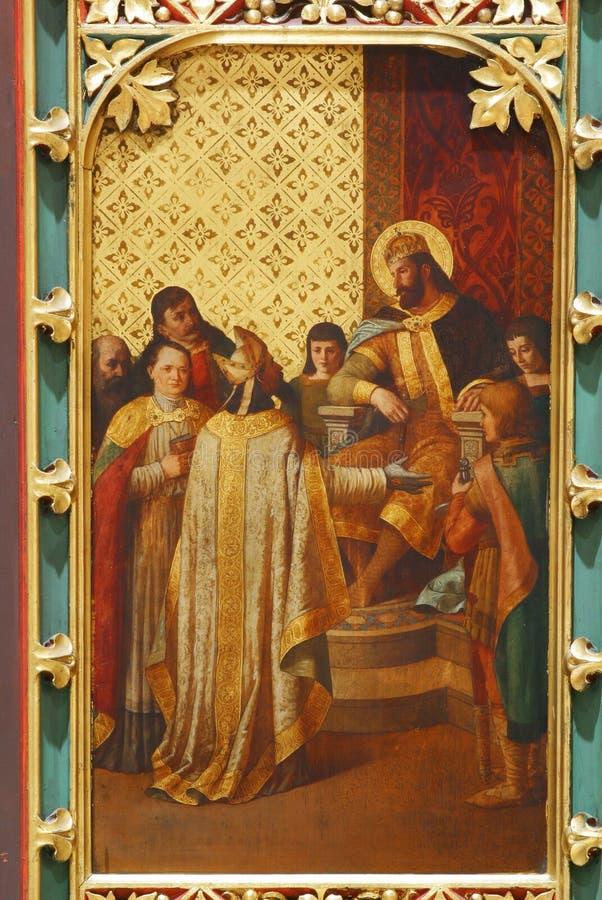 Heiliges Ladislaus schickt den ersten Bischof nach Zagreb lizenzfreies stockbild