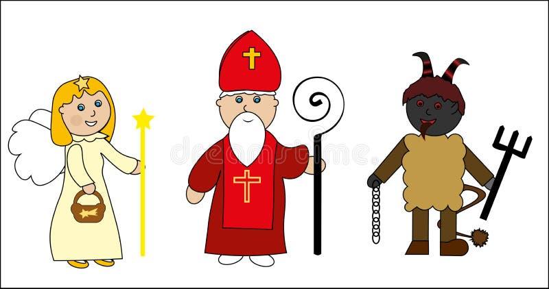 Heiliges Nicolas mit Engel und Teufel vektor abbildung