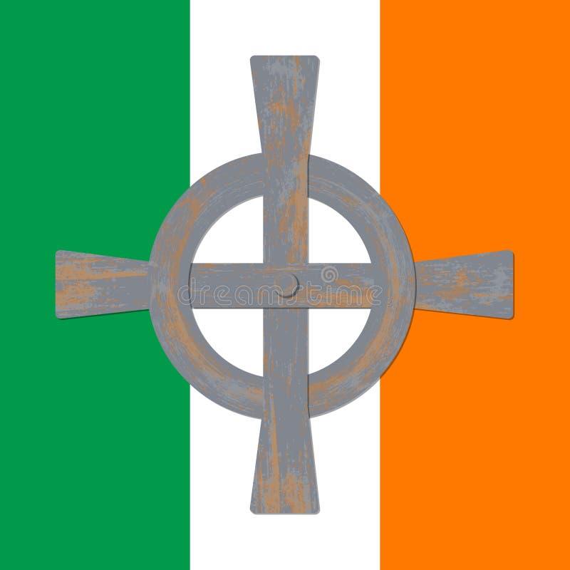Heiliges Patricks Tag Markierungsfahne von Irland Keltisches Kreuz vektor abbildung