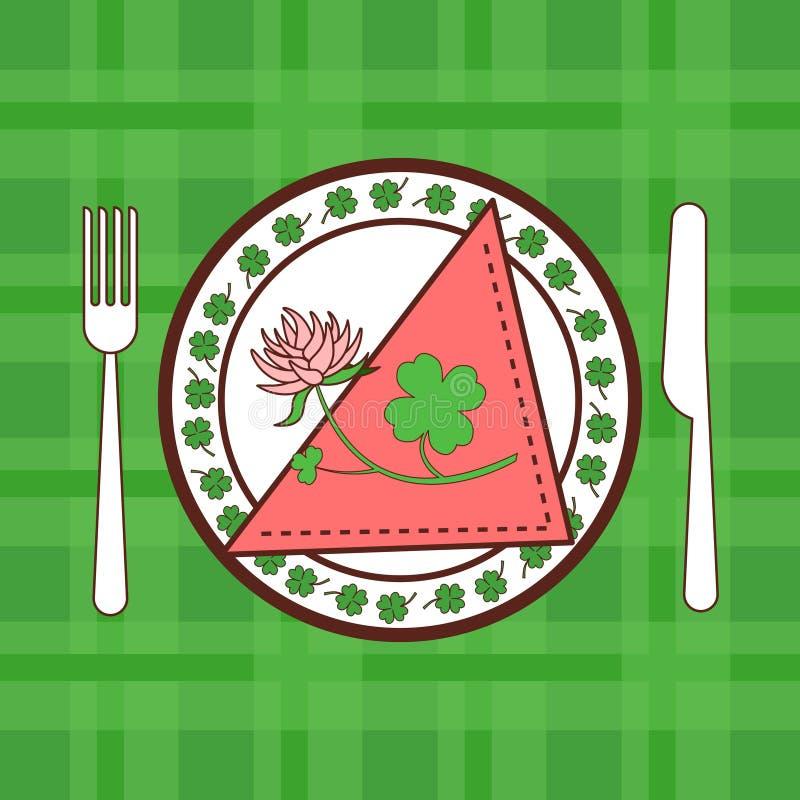 Heiliges Patricks-Tageskarte mit Shamrock-Blättern und Blume auf gedienter Platte auf Grün überprüftem Hintergrund vektor abbildung