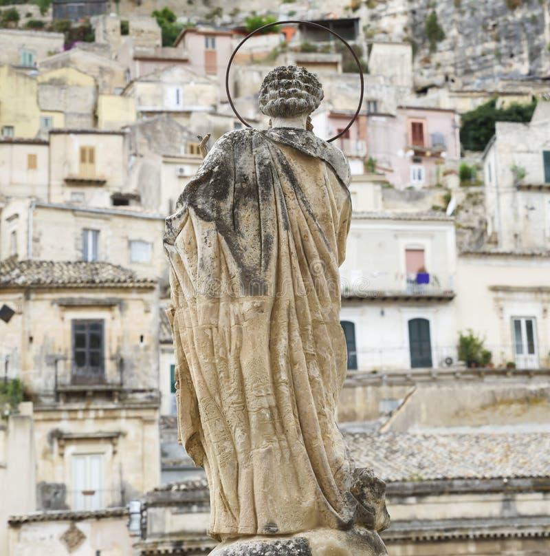 Heiligskulptur-Sizilien-modica stockfotos