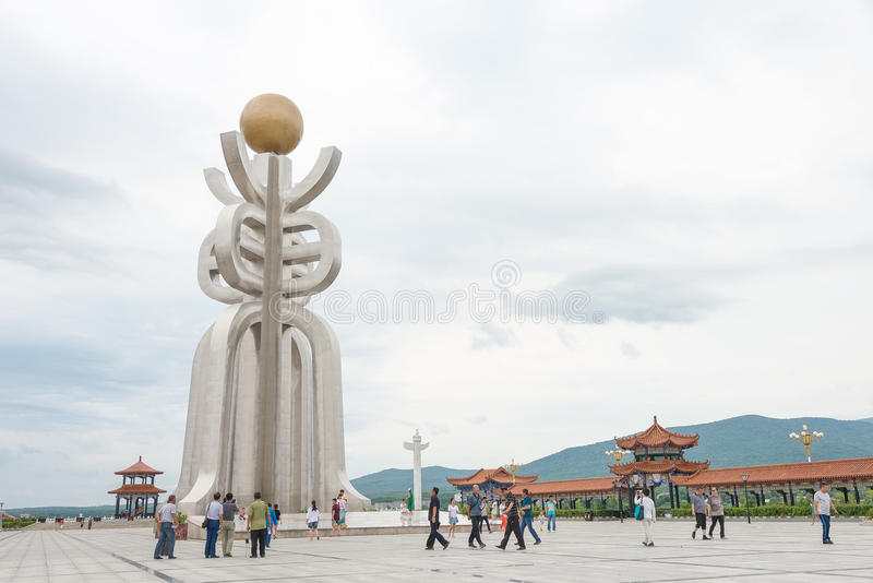 HEILONGJIANG, CHINA - Jul 12 2015: Sun Square. The City of Fuyuan is a major border crossing between China and Khabarovsk. Krai of Russia stock photo
