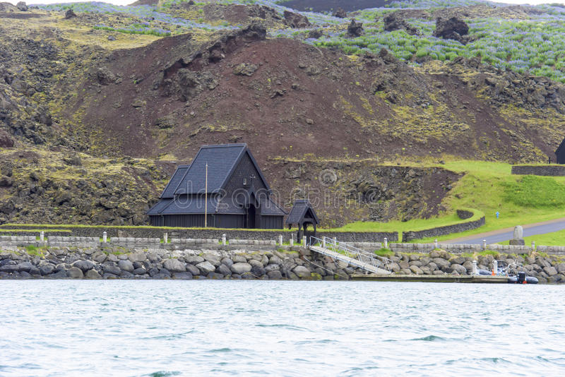 Wooden church of Heimaey, Westman Isles, Iceland stock photography