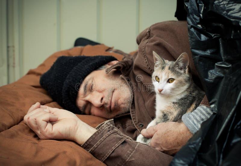 Heimatloser Mann und freundliches Streukätzchen lizenzfreies stockbild