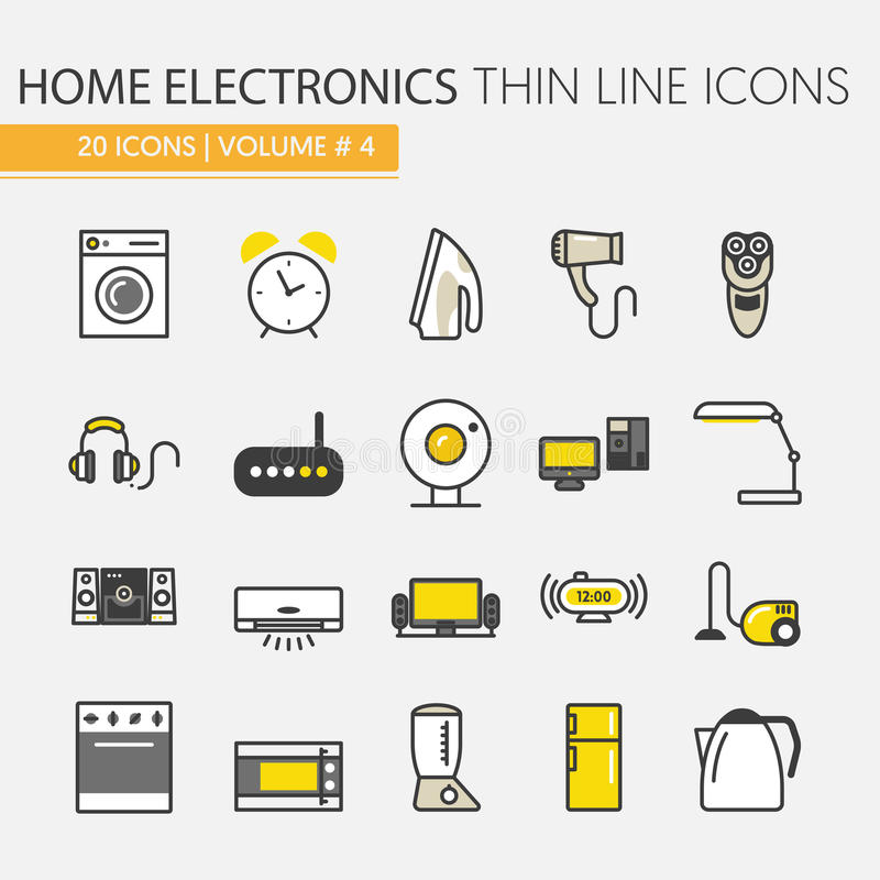 Heimelektronik-Geräte verdünnen Linie die eingestellten Ikonen lizenzfreie abbildung