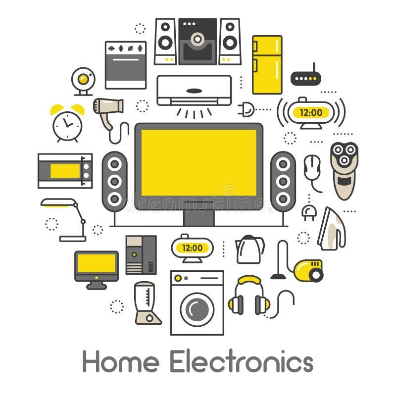 Heimelektronik-Geräte verdünnen Linie die Ikonen, die mit Fernseher, Kühlschrank und Kaffeemaschine eingestellt werden vektor abbildung