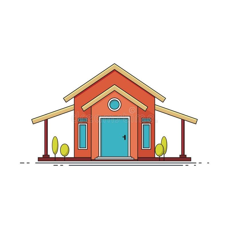 Heimliches süßes Zuhause Vorderseite, Fassade des Hausgebäudes stock abbildung