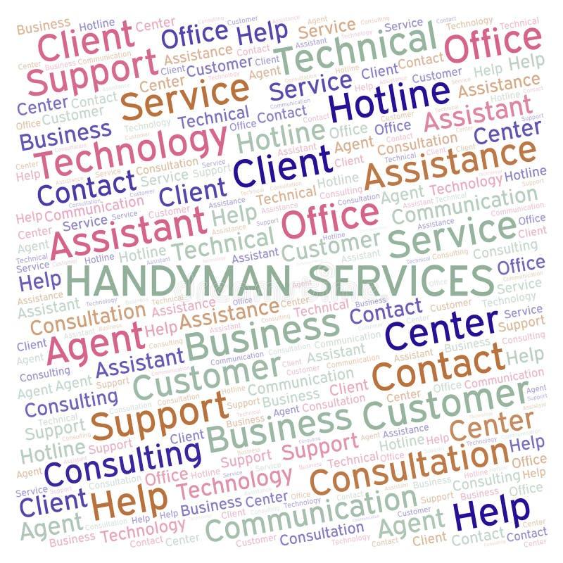 Heimwerker-Services-Wortwolke lizenzfreie abbildung