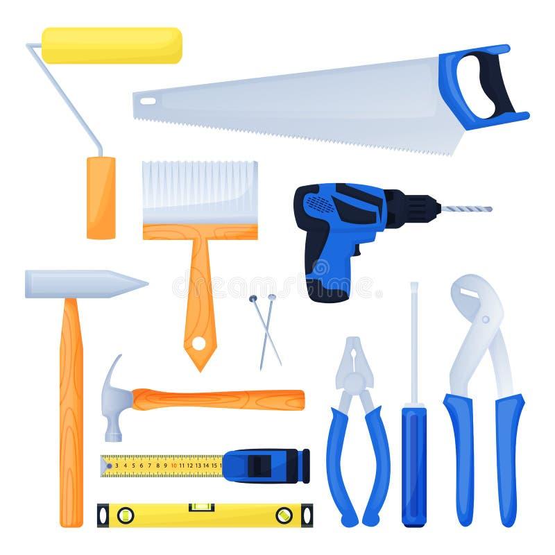 Heimwerkerarbeitsausrüstung, Hauptreparaturwerkzeuge Wohnungsbauausrüstungs-Gestaltungselementsatz Auch im corel abgehobenen Betr stock abbildung