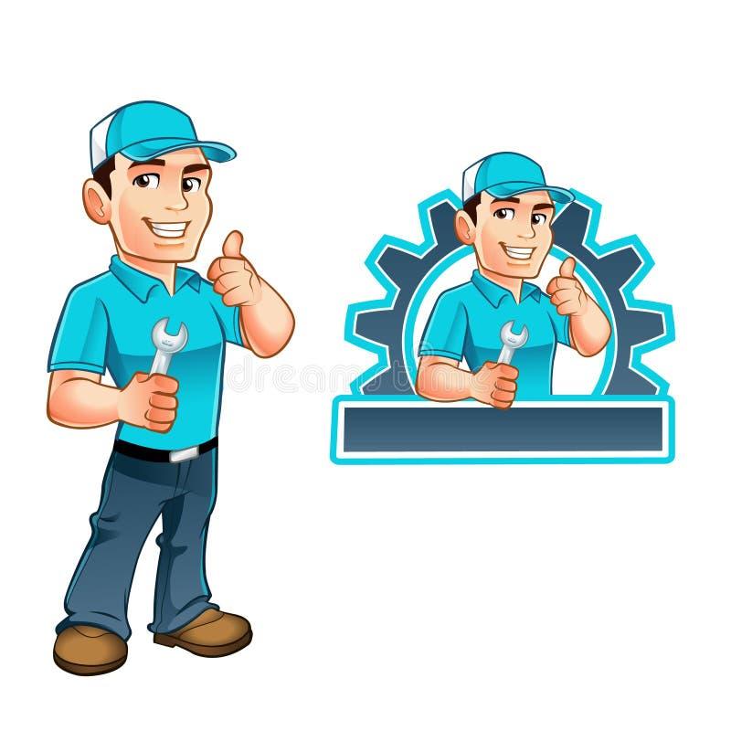 Heimwerkerarbeitskraft mit Schlüssel in der Hand lizenzfreie abbildung