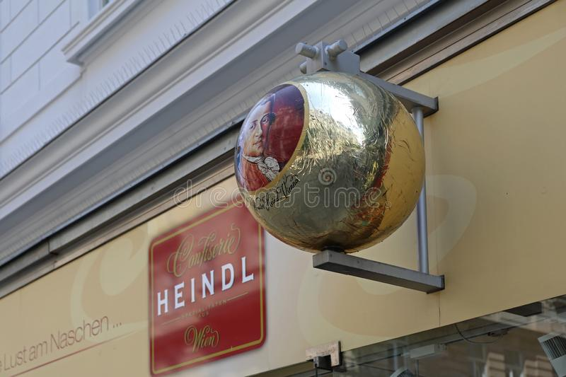Heindl Sign Vienna. Vienna, Austria - July 12, 2015: Famous Heindl Chocolate Confectionery Shop Sign in Vienna, Austria royalty free stock photography
