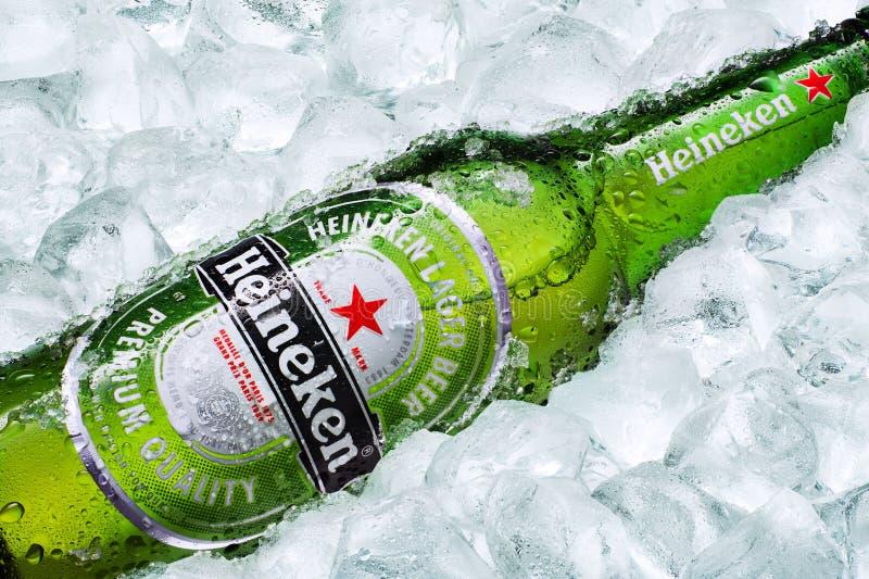 Heineken beer. Horizontal shot of Heineken beer bottle on ice cubes royalty free stock images