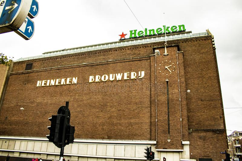 The Heineken Factory, The Netherlands, Amsterdam. Tour through the history of Heineken, all its glass bottles from the oldest to the present.#Heinekenexperience stock images