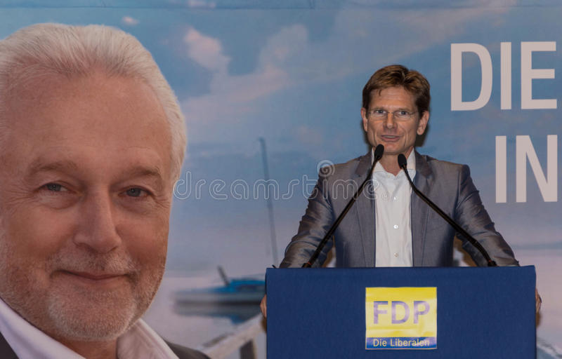 Heiner Garg博士,前社会事务大臣和主席副总理石勒苏益格-荷尔斯泰因州和FDP的状态 免版税图库摄影