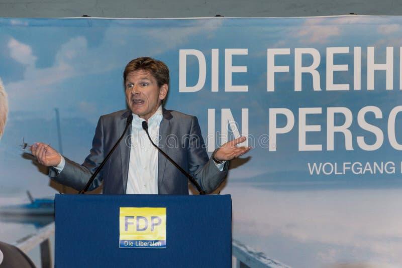 Heiner Garg博士,前社会事务大臣和主席副总理石勒苏益格-荷尔斯泰因州和FDP的状态 免版税库存照片