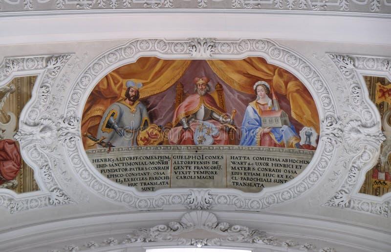 Heinrich, comte d'Altdorf, Welf I, Ata von Hohenwart fresco dans la basilique Saint-Martin et Oswald à Weingarten, Allemagne photographie stock