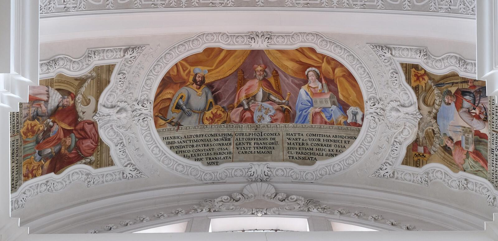 Heinrich, Count of Altdorf, Welf I, Ata von Hohenwart fresco in the Basilica of St. Martin and Oswald in Weingarten, Germany. Heinrich, Count of Altdorf, Welf I royalty free stock photography