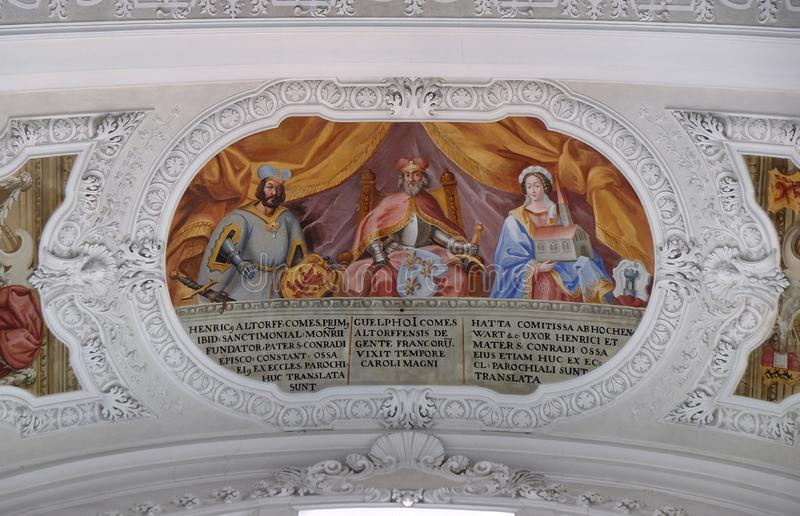 Heinrich, Count of Altdorf, Welf I, Ata von Hohenwart fresco in the Basilica of St. Martin and Oswald in Weingarten, Germany. Heinrich, Count of Altdorf, Welf I stock photography