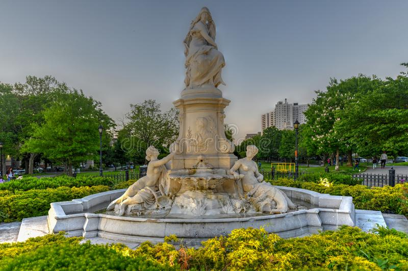 Heinrich Heine Fountain - New York City. New York City - May 18, 2019: Heinrich Heine Fountain also known as Lorelei Fountain in Bronx, New York City. It is stock images