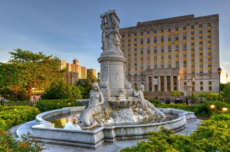 Heinrich Heine Fountain - New York City. New York City - May 18, 2019: Heinrich Heine Fountain also known as Lorelei Fountain in Bronx, New York City. It is stock photos