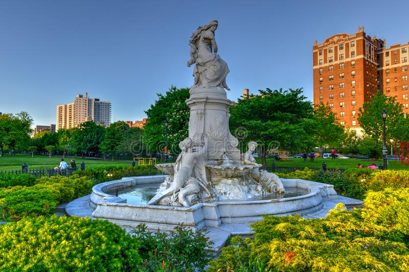 Heinrich Heine Fountain - New York City. New York City - May 18, 2019: Heinrich Heine Fountain also known as Lorelei Fountain in Bronx, New York City. It is royalty free stock images