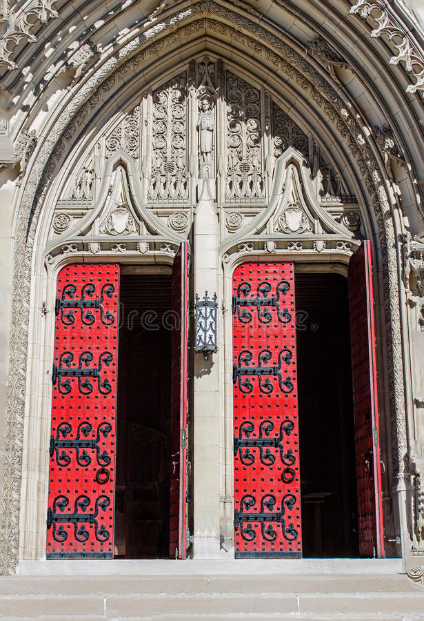 Heinz Chapel Doors Open. Gothic Architecture of Pittsburghs Historic and Grandiose Heinz Chapel Facade stock photo