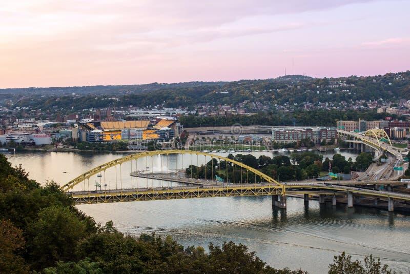 Heinz Field and Fort Pitt Bridge stock image