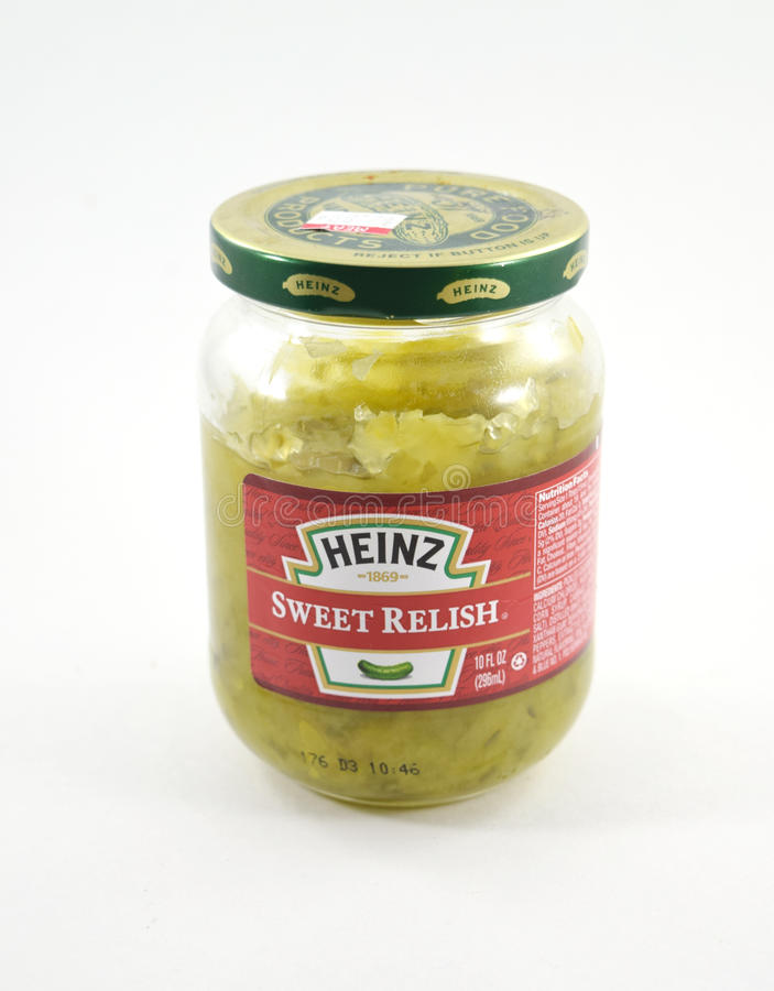Heinz Sweet Relish. NEW YORK, NY - August 10th, 2016: Glass jar of Heinz Sweet Relish made of pickles royalty free stock image