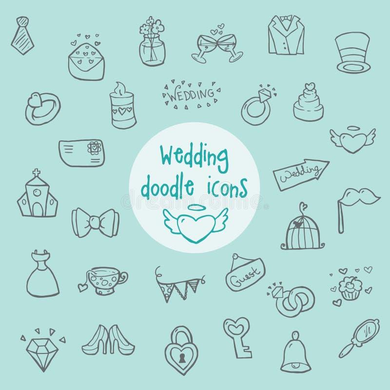 Heirat - Gekritzelikonen stockbilder
